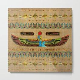 Egyptian Goddess Isis Ornament on papyrus Metal Print