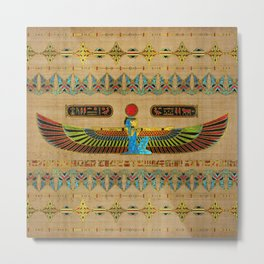Egyptian Goddess Isis Ornament on papyrus Metal Print