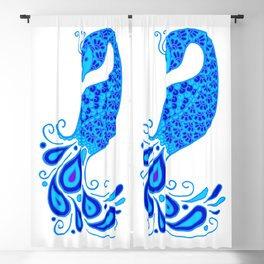 Blue Peacock Blackout Curtain