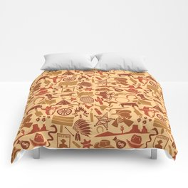 wild west icons set seamless background Comforters