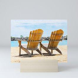 Beach Chairs at the Lake - Summertime - Beach Decor Mini Art Print