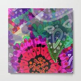 bright floral paisley abstract Metal Print
