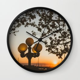 Sunset in Newport Wall Clock