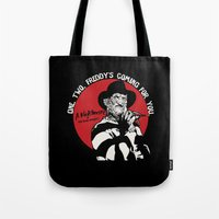 freddy krueger Tote Bags featuring Freddy K quote v2 by Buby87