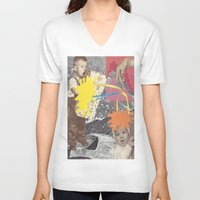 kids V-neck T-shirts featuring Kids by collageriittard