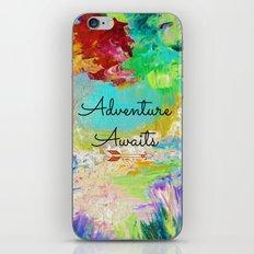 ADVENTURE AWAITS Wanderlust Typography Explore Summer Nature Rainbow Abstract Fine Art Painting iPhone & iPod Skin