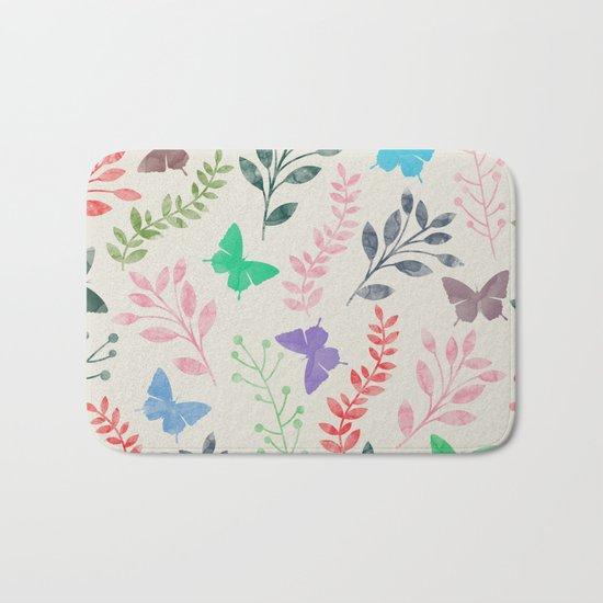 Watercolor flowers & butterflies Bath Mat