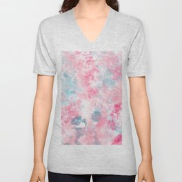 Modern Christmas pastel pink ice blue watercolor  brushstrokes Unisex V-Neck