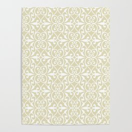 Abstract pattern.White ornament on beige background. Poster