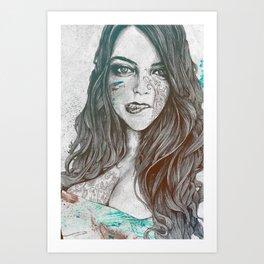U-Turn: Rainbow (mandala tattooed woman, drawing portrait) Art Print