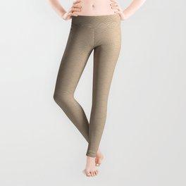 Pantone Hazelnut Multi Striped Tiny Scallop Wave Pattern Leggings