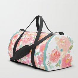 Watercolor Peonies Summer Bouquet Duffle Bag