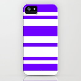 Mixed Horizontal Stripes - White and Indigo Violet iPhone Case