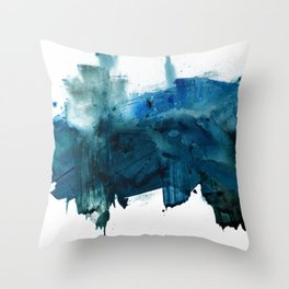 Change: A minimal abstract acrylic painting in blue and green by Alyssa Hamilton Art Throw Pillow