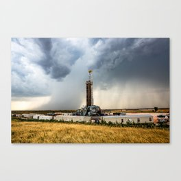 Nevermind the Weather - Oil Rig and Passing Storm in Oklahoma Canvas Print