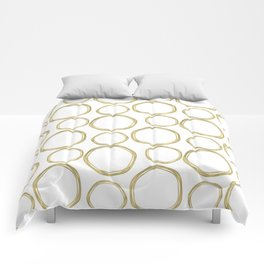 White & Gold Circles Comforters