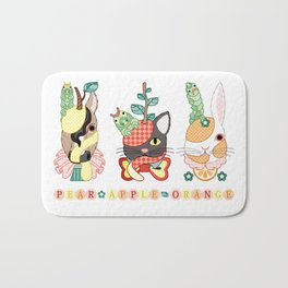 Fruit animals a pear horse, an apple cat, a mandarin orange rabbit, with green caterpillars (remake) Bath Mat