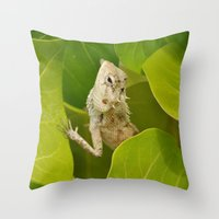 lizard Throw Pillows featuring Lizard by Bonjourik