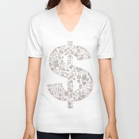 medicine V-neck T-shirts featuring Medicine dollar by aleksander1