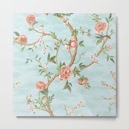 Rose bushes have thorns - Roses Flowers Floral Vintage Retro on Aqua Metal Print