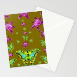PURPLE LILIES BLUE-GREEN-YELLOW PATTERNED MOTHS Stationery Cards