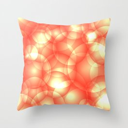 Gentle intersecting orange translucent circles in pastel shades with glow. Throw Pillow