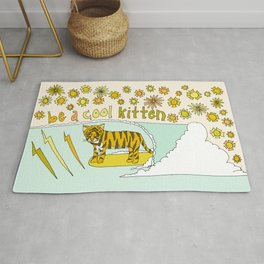be a cool kitten // tiger cub shreds // retro surf art by surfy birdy Rug