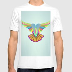 Wings Let's Fly! MEDIUM White Mens Fitted Tee