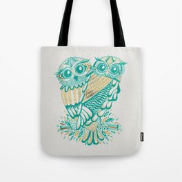 Owls – Turquoise & Gold Tote Bag