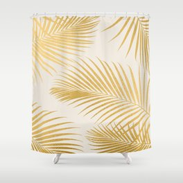 Metallic Gold Tropical Palm Fronds Shower Curtain