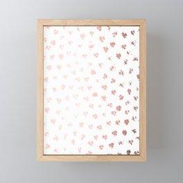 Rose Gold Pink Polka Splotch Dots on White Framed Mini Art Print
