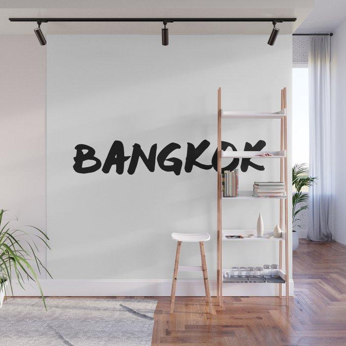 'Bangkok' Thailand Hand Letter Type Word Black & White Wall Mural