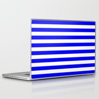 stripes Laptop & iPad Skins featuring Horizontal Stripes (Blue/White) by 10813 Apparel
