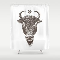 bison Shower Curtains featuring bison by adi katz