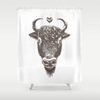 bison Shower Curtains featuring bison by adi katz