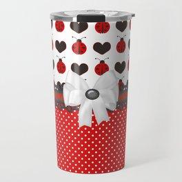 Ladybug and Hearts Travel Mug