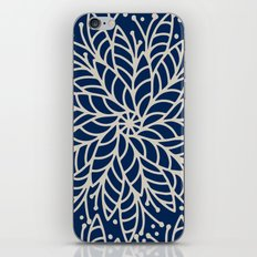 Modern navy blue ivory hand painted floral mandala iPhone Skin