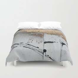 Still: an abstract mixed media piece in black, white, and gold by Alyssa Hamilton Art Duvet Cover