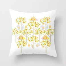 Birds And Oranges Throw Pillow