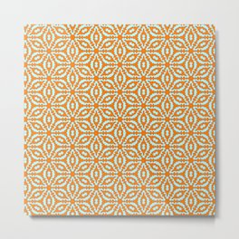 Burnt Orange Clay Orange and Turquoise Mint Green Starburst Snowflake Southwestern Design Pattern Metal Print