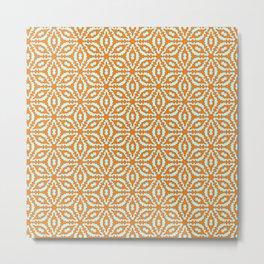 Burnt Orange Clay Orange and Turquoise Mint Green Starburst Snowflake Southwestern Design Pattern Metal Print