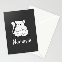 Namaste Yoga Cat Dark Grey Stationery Cards