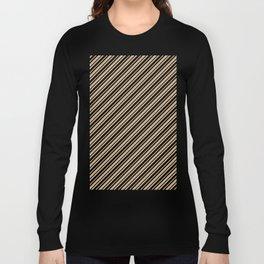 Tan Brown and Black Diagonal RTL Var Size Stripes Long Sleeve T-shirt