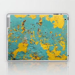yellow and blue worn paint and rust texture Laptop & iPad Skin