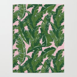 Leaves Baninque in Pink Conch Poster