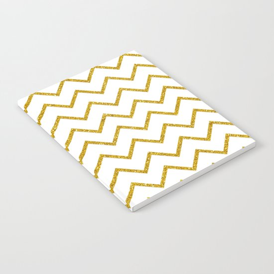 Gold glitter chevron on white - Luxury pattern Notebook