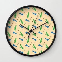 Bongs, Blunts, Joints Pattern Wall Clock
