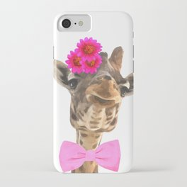 Giraffe funny animal illustration iPhone Case