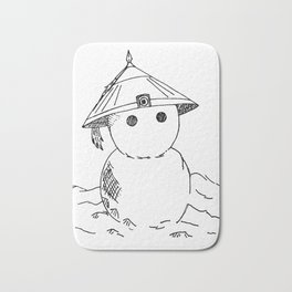 Cute Asian Snowman Bath Mat