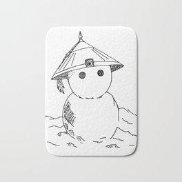 Cute Asian Snowman Bath Mat